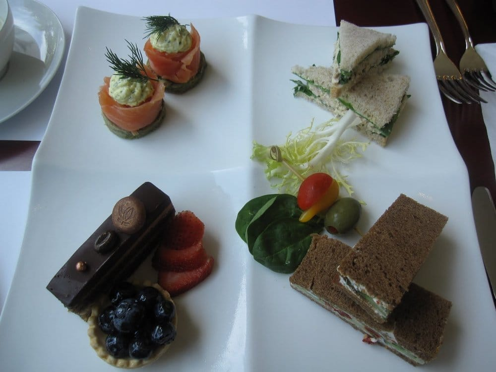 smoked salmon and egg mousse on green tea blinis, chicken ...