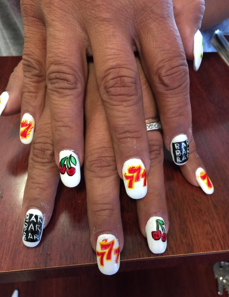 Acrylic Nails with Hand Drawn Slot Machine Nail Art done by Kim ...