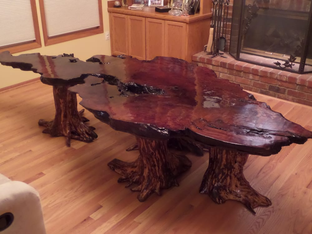 California Redwood Coffee Table With Cypress Stump Base Yelp - Cypress stump coffee table