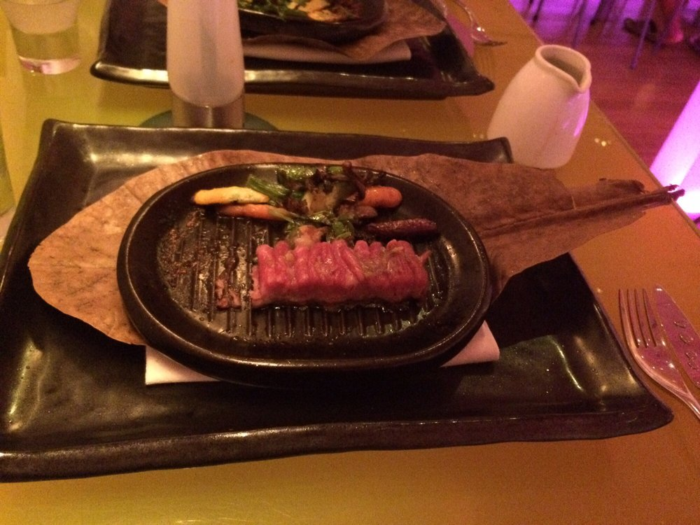 Wagyu beef imported from Australia was impressively fatty and they