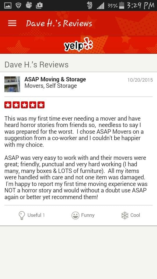 ASAP Moving Storage Photos Movers Lincoln Ave Saugus - Invoice asap reviews