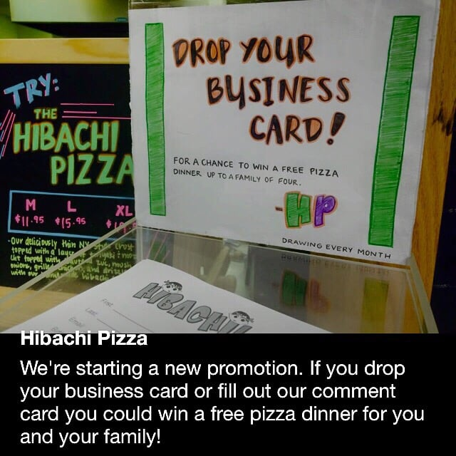 drop in a business card for a free dinner yes please yelp