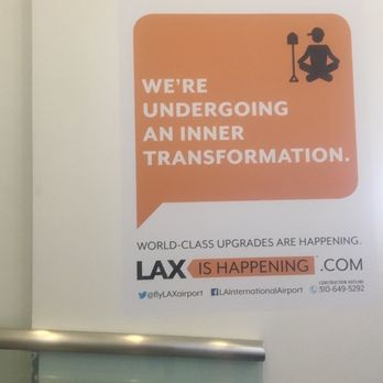 'Photo of Los Angeles International Airport - LAX - Los Angeles, CA, United States. Signage about upcoming renovations1_b@b_1LAX in Terminal 3.' from the web at 'https://s3-media3.fl.yelpcdn.com/bphoto/6OB3FMUDX-g_zsE4J4Wjgw/348s.jpg'