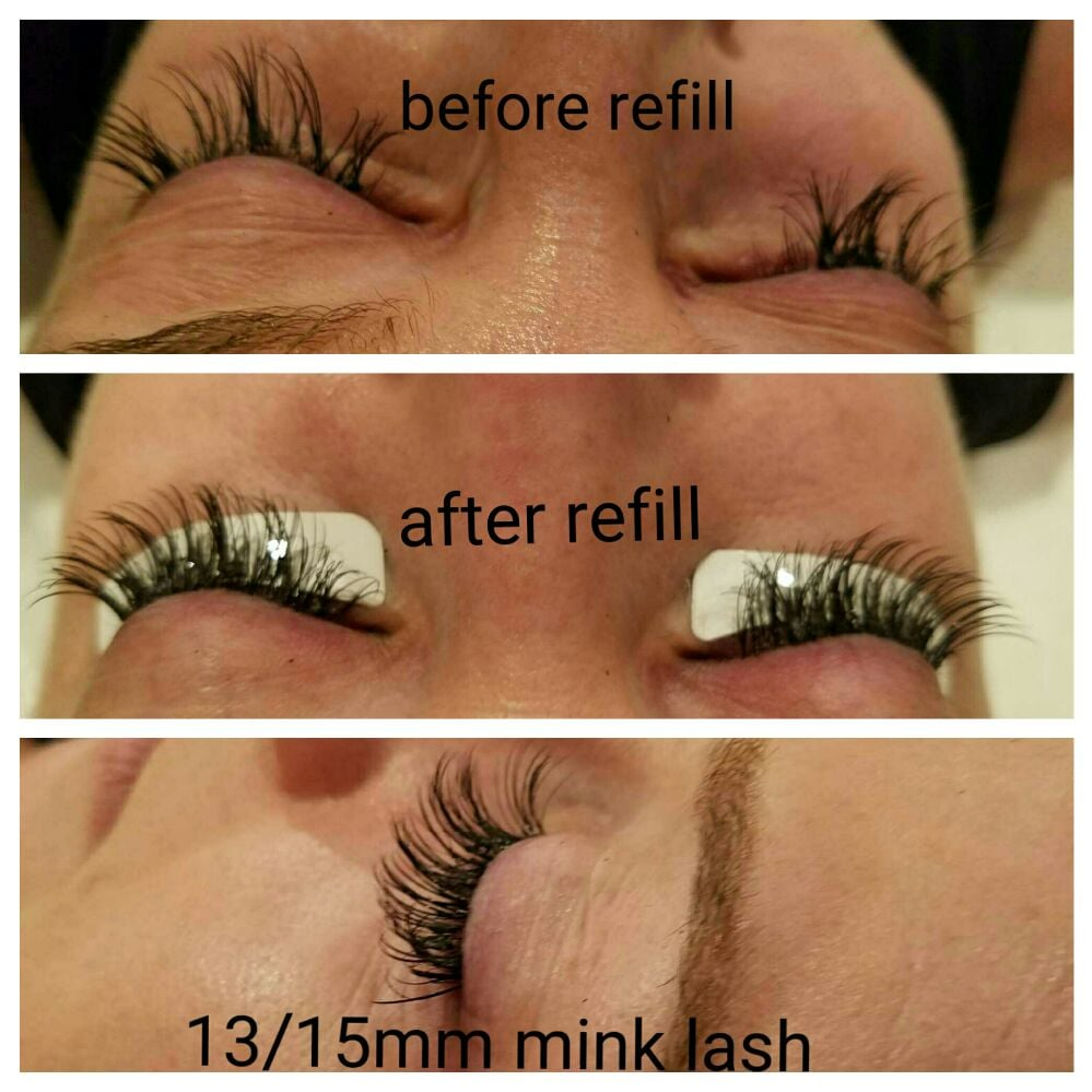 Before Refill And After Refill Eyelash Extension Set 13mm Mink