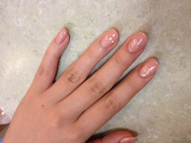 My second time, I asked for rounded oval shaped nails like Betty has ...
