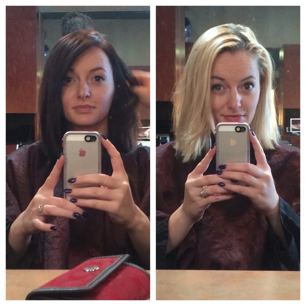 The blonde is before the dark brown is after i love it for 2 blond salon reviews