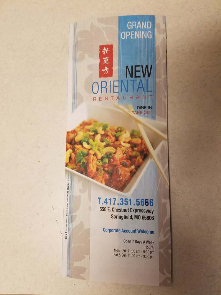 Photo Of New Oriental Restaurant Springfield Mo United States Menu