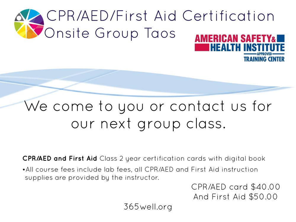 Cpraed First Aid Certification In Taos Yelp