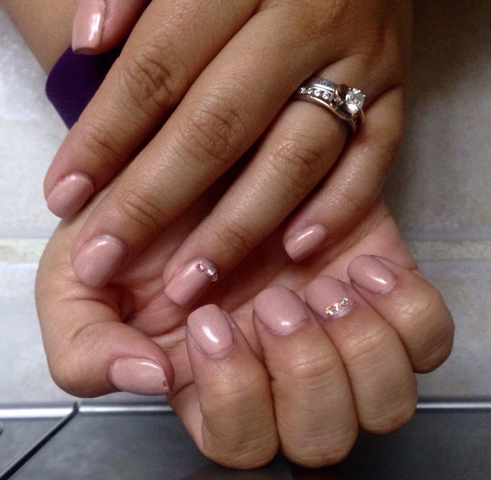 Gel manicure with rhinestone nail art and regular pedicure- $75 with ...