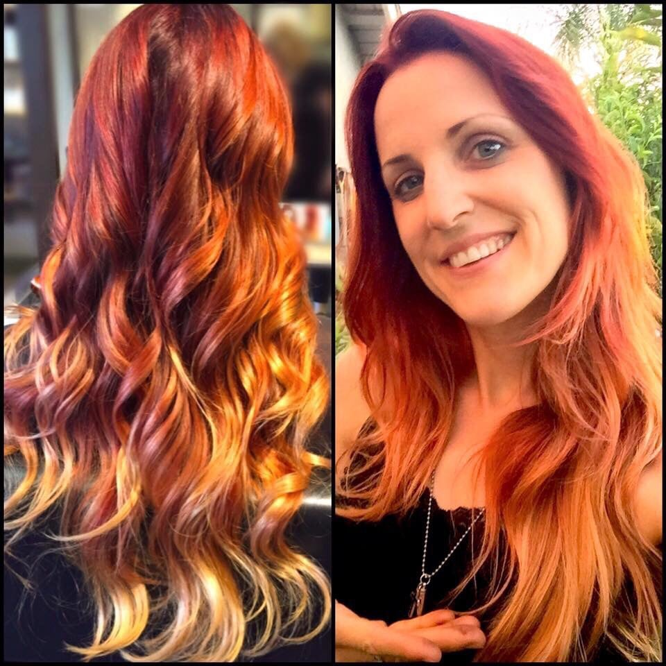 I Love This Vibrant Flame Red Ombre Color And Style By Heather