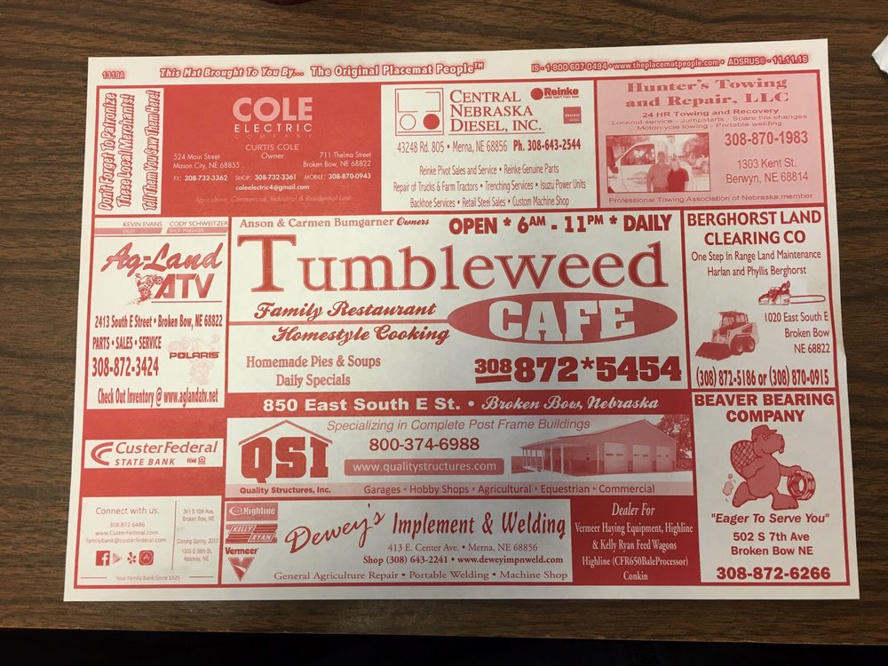 Tumbleweed Cafe: 850 E South E St, Broken Bow, NE