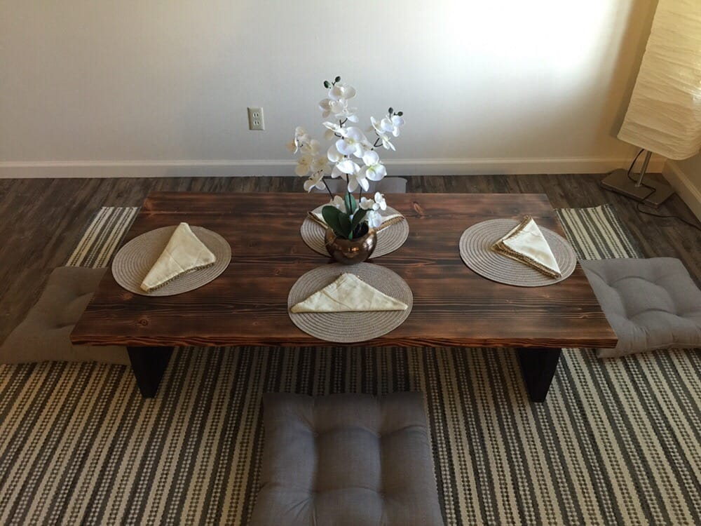 Shou sugi ban low dining table ancient japanese style yelp for Ganahl lumber
