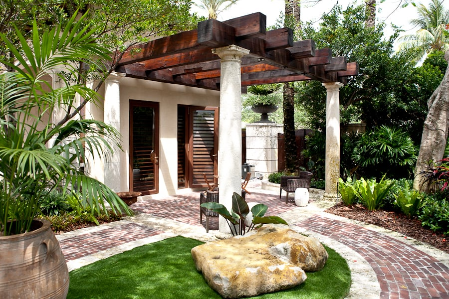Custom Millwork - Outdoor Garden Pergola With Reclaimed Wood Beams - Reclaimed Wood Miami WB Designs