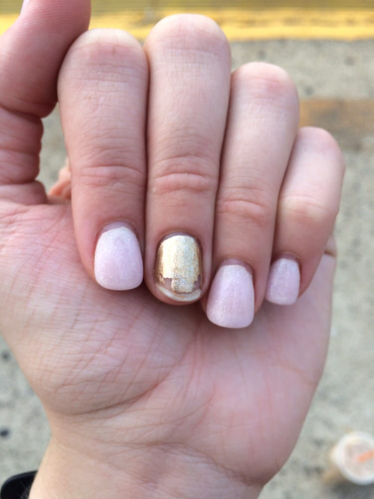 SNS nail came completely off!! Tried to save it with some gold ...