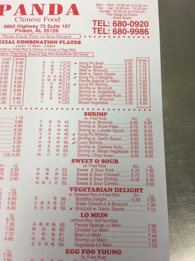 Online Menu Of Panda Chinese Food Restaurant Pinson Alabama