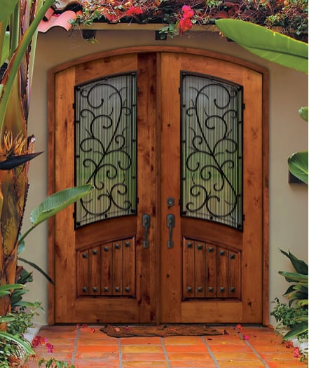 Knotty Alder Arch Top Double Entry Door With Bellagio Iron