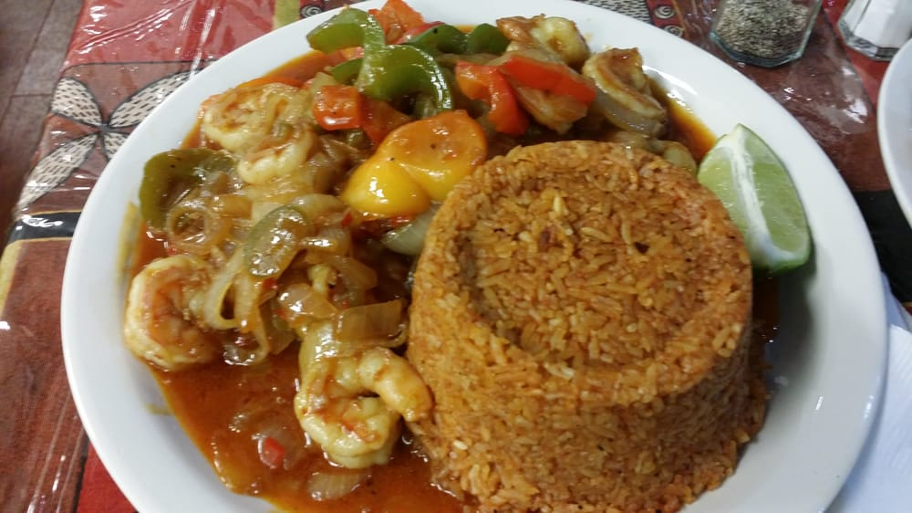 Yassa shrimp with jollof rice yelp for African cuisine chicago
