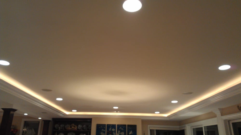 How To Install Recessed Lighting Crown Molding : Quot can lights with led strip lighting in crown molding yelp