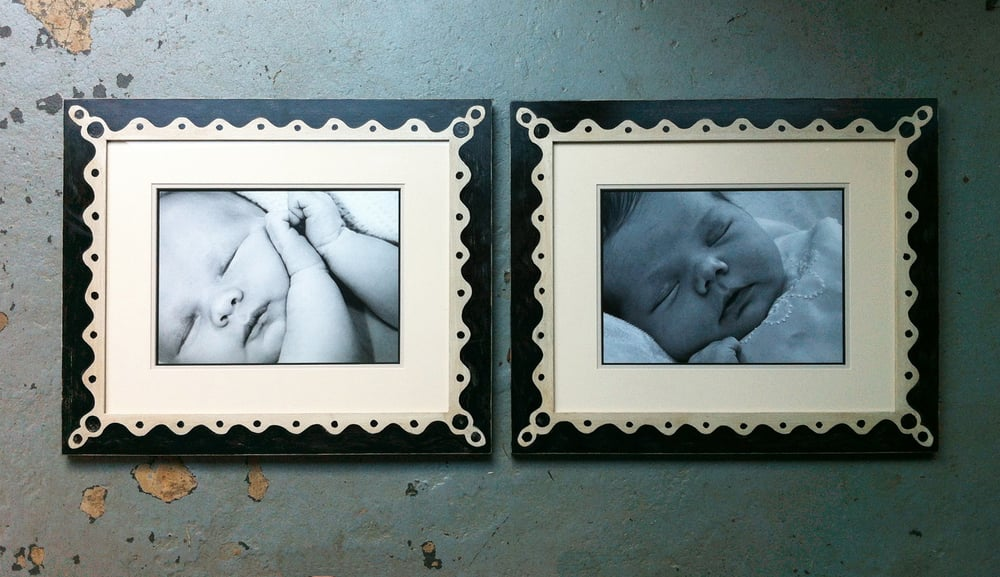 Matched set of distressed painted frames for siblings. - Yelp