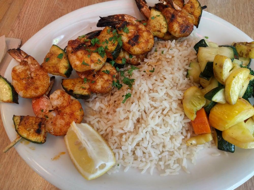 Cajun shrimp skewer rice and veggies decent yelp for Seasalt fish grill