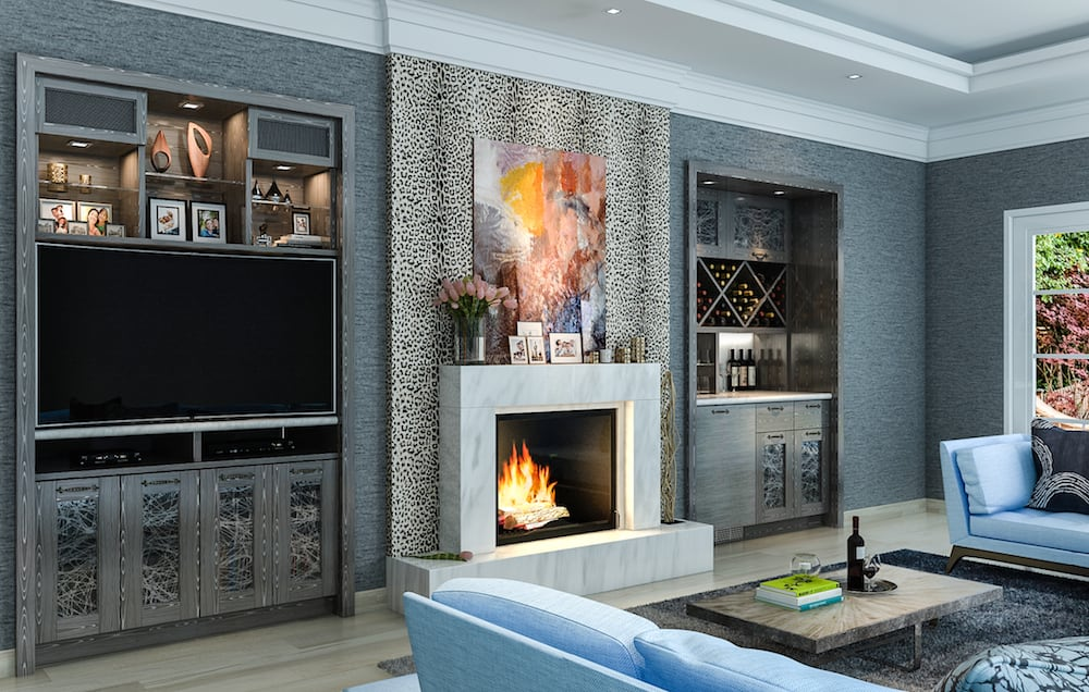 Custom-built wall units around fireplace feature a bar and ...