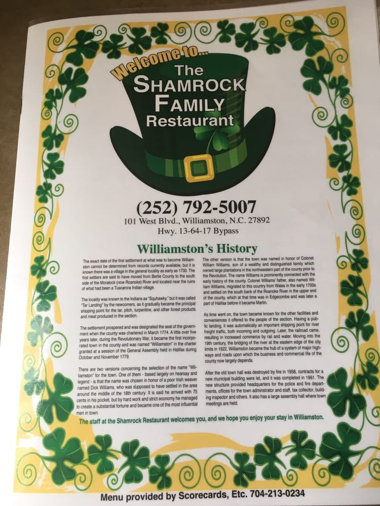 Shamrock Restaurant: 101 West Blvd, Williamston, NC