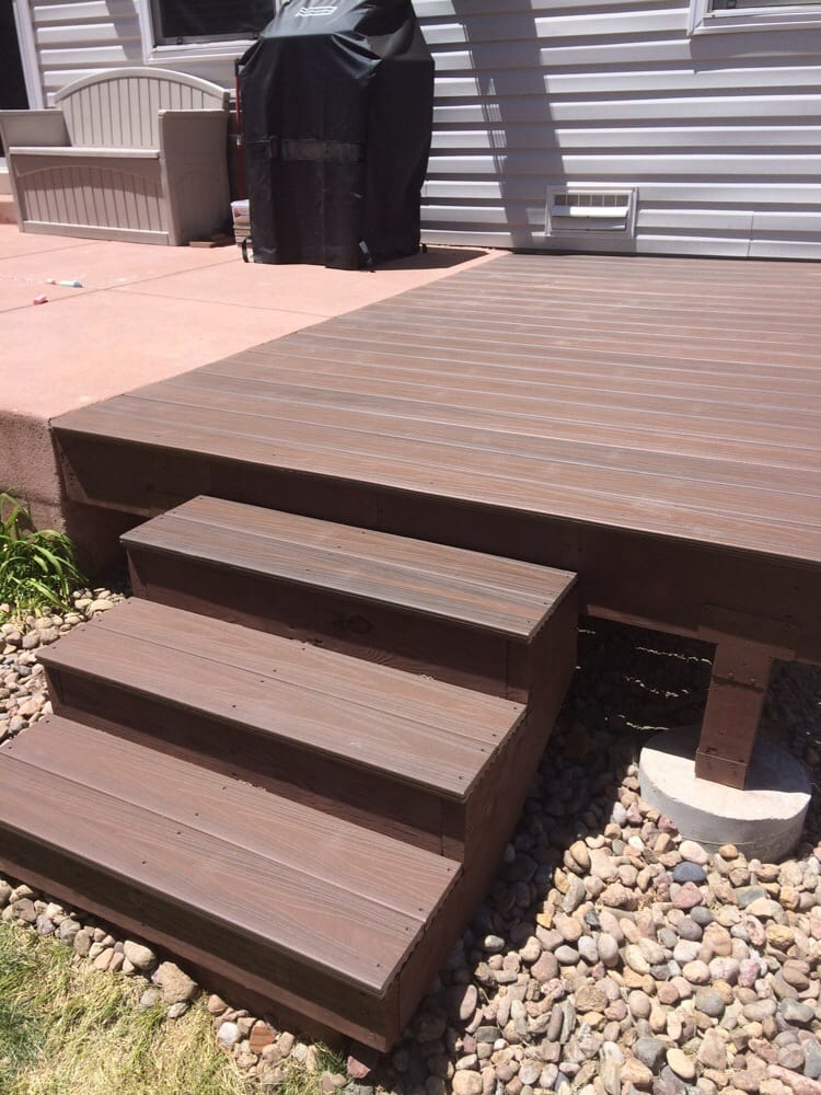 Small deck added to extend concrete patio veranda for Veranda composite decking