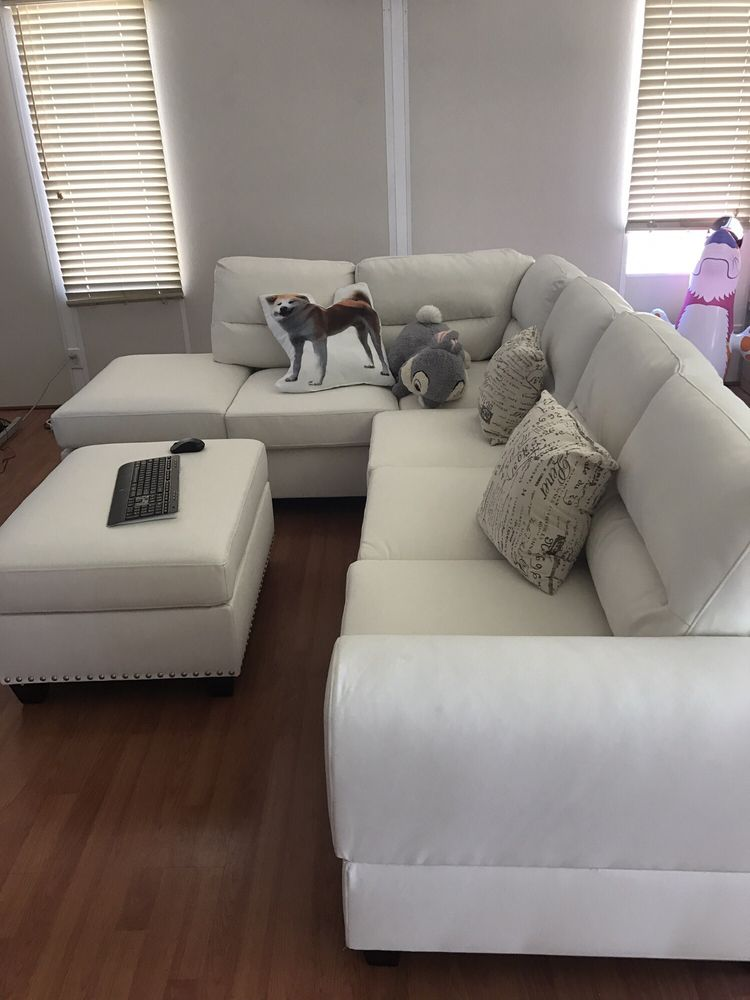 furniture cupboard piece sectional poundex white sofa