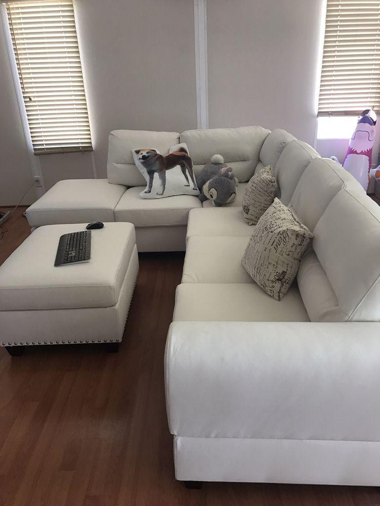 piece amazon cupboard sofa bobkona com poundex microfabric saddle reversible leo furniture dp sectional