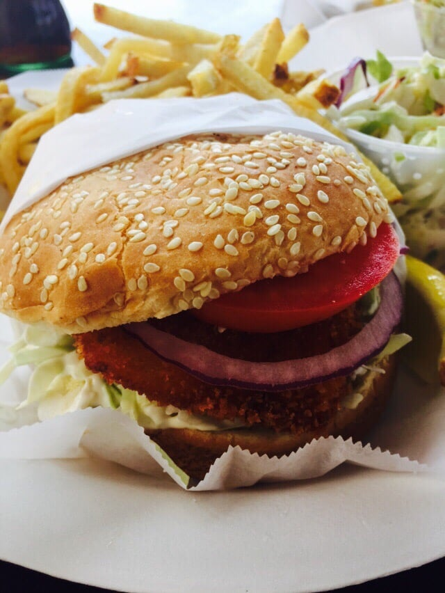Fish burger good but the bun was dry yelp for Malibu fish grill
