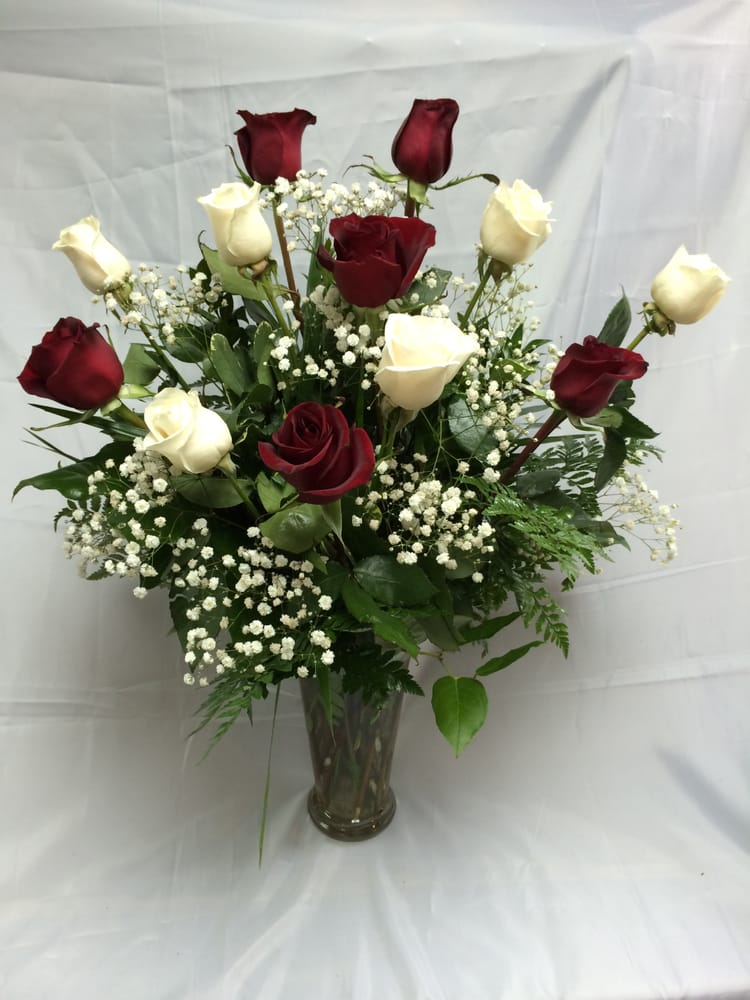 Aggie Dozen - maroon and white roses with Baby\'s Breath. - Yelp