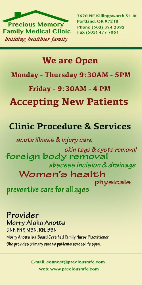 Precious Memory Family Medical Clinic   7620 NE Killingsworth St, Portland, OR, 97218   +1 (503) 384-2392