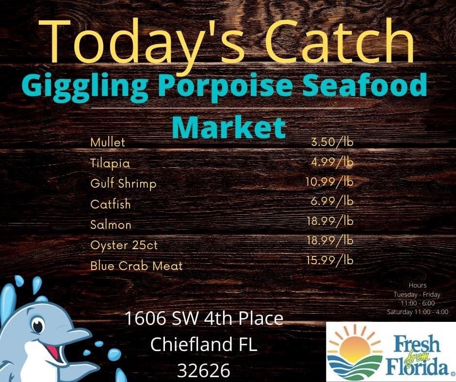Giggling Porpoise Seafood Market: 1606 SW 4th Pl, Chiefland, FL