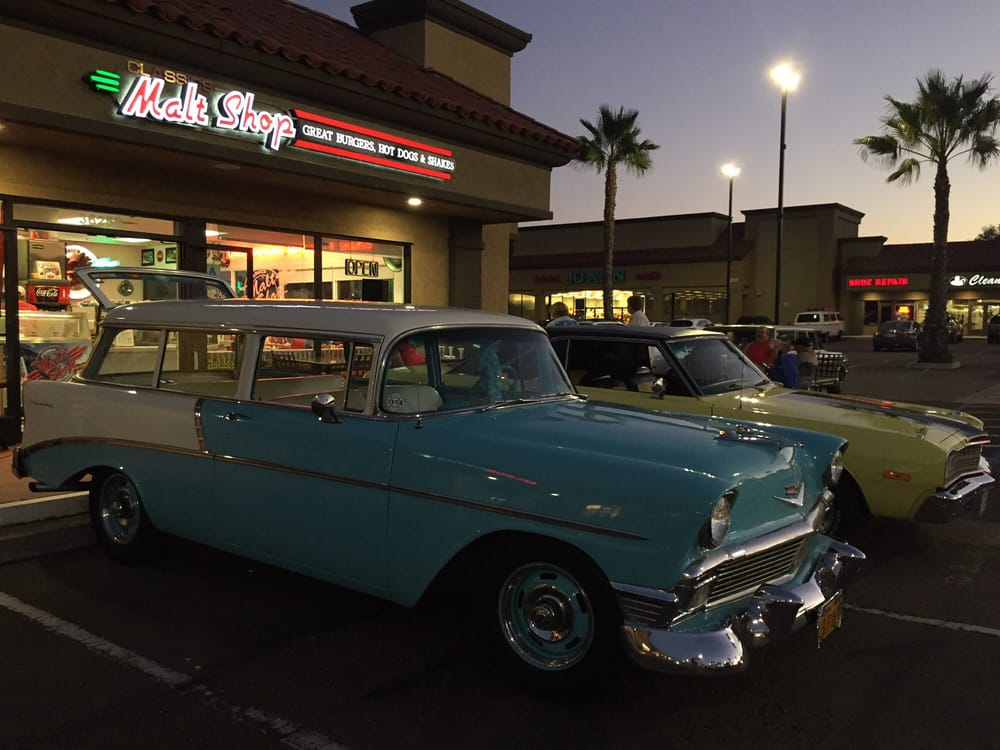 Two classic cars parked in front of the Classics Malt Shop! - Yelp