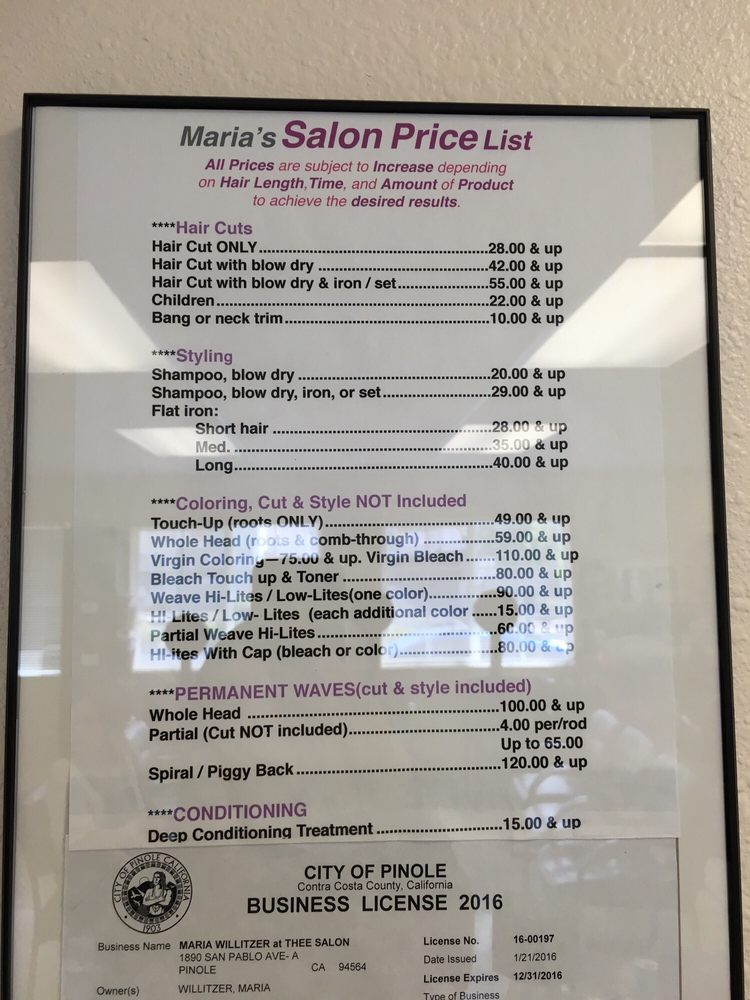 The Salon Price List  Yelp