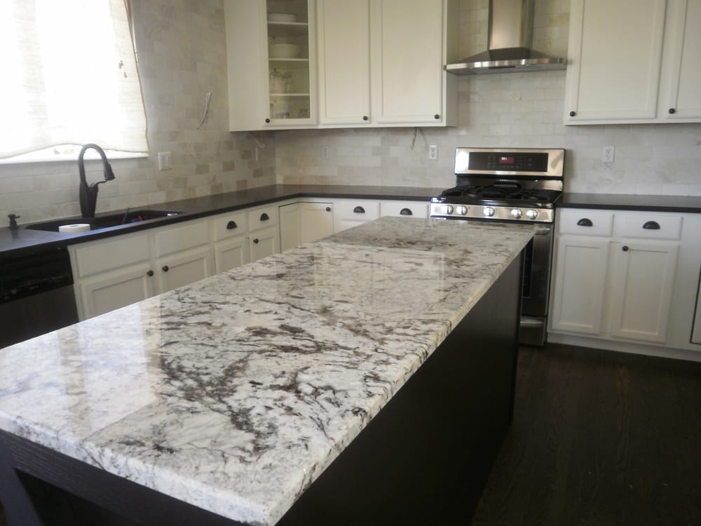 Black Pearl Honed Perimeter And Cold Spring Granite Island