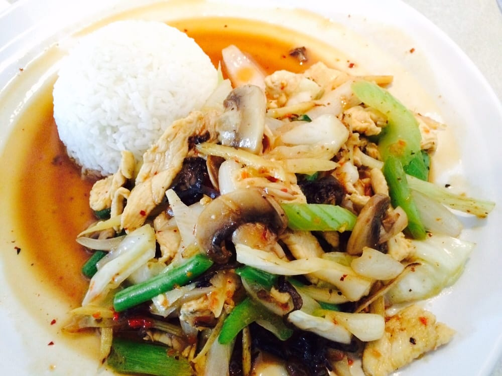 Pad King Sod Chicken With Ginger Mushrooms Veggies Yelp