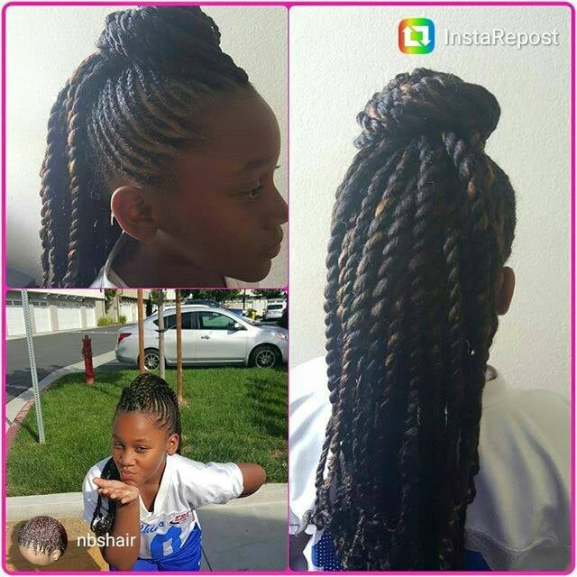 Small Cornrows Into A Mohawk With 2 Strand Twist With Afro Defined