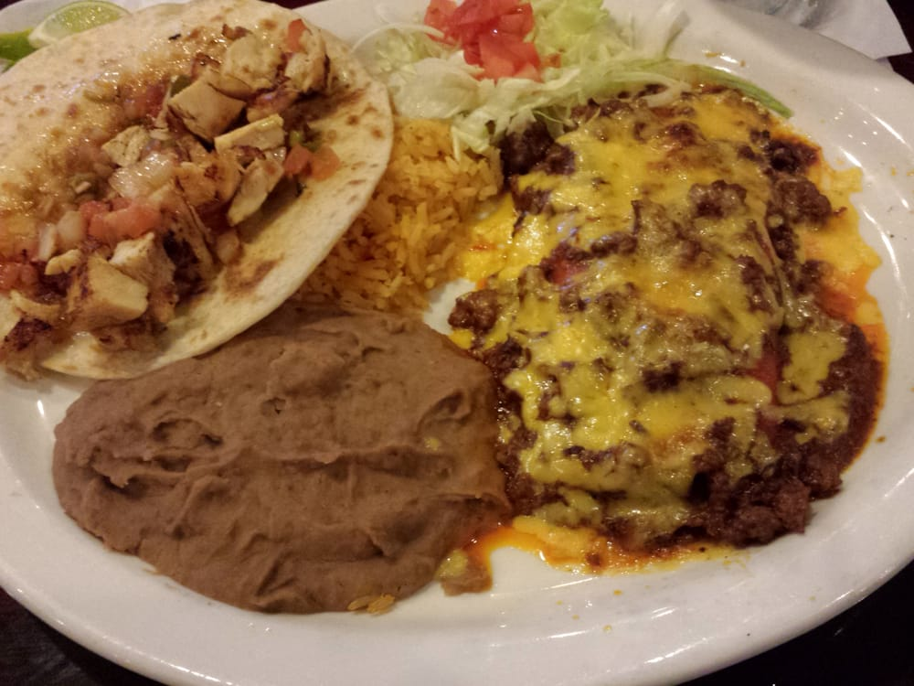 The Tilo Combo Plate: 2 cheese enchiladas with chili con ...