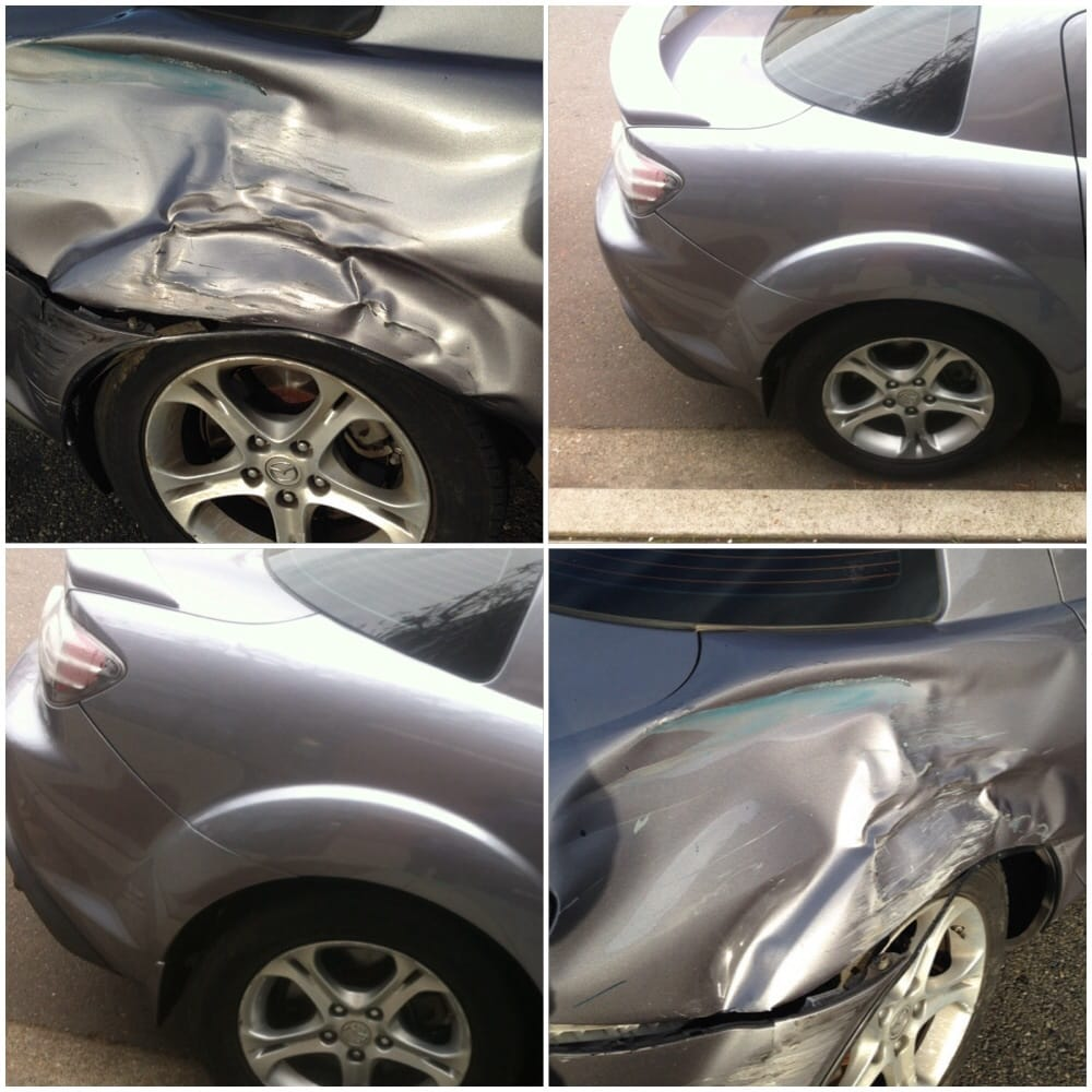 before & after of collision damage on Mazda RX8 - Yelp