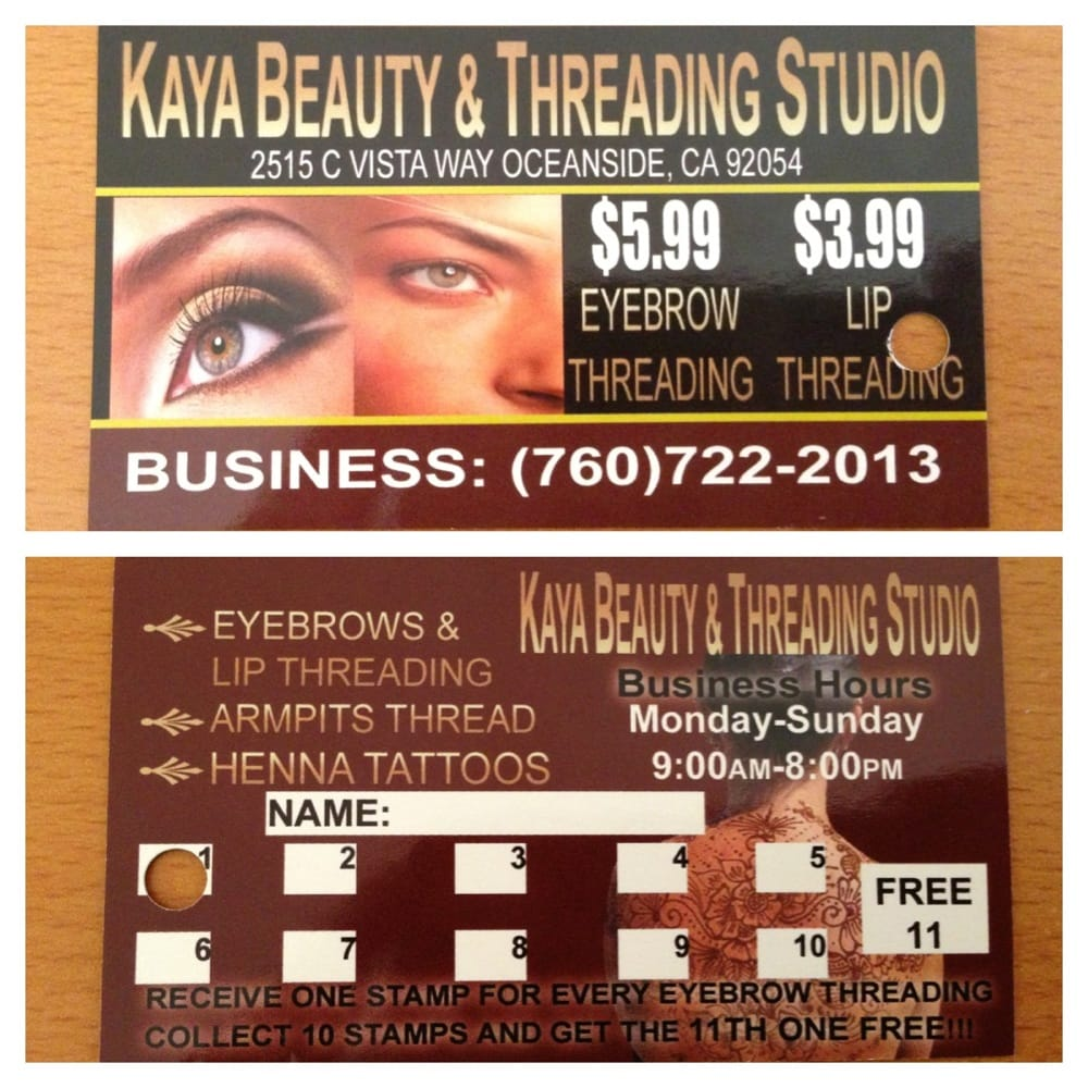 Punch Card Free Eyebrow Threading After Your 10th Brow Threading