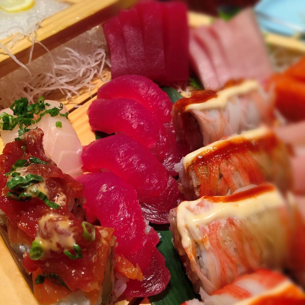 Sushi sashimi boat for 4 yelp for Blue fish sushi