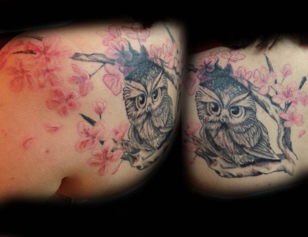 Owl Cherry Blossom Tattoo Yelp