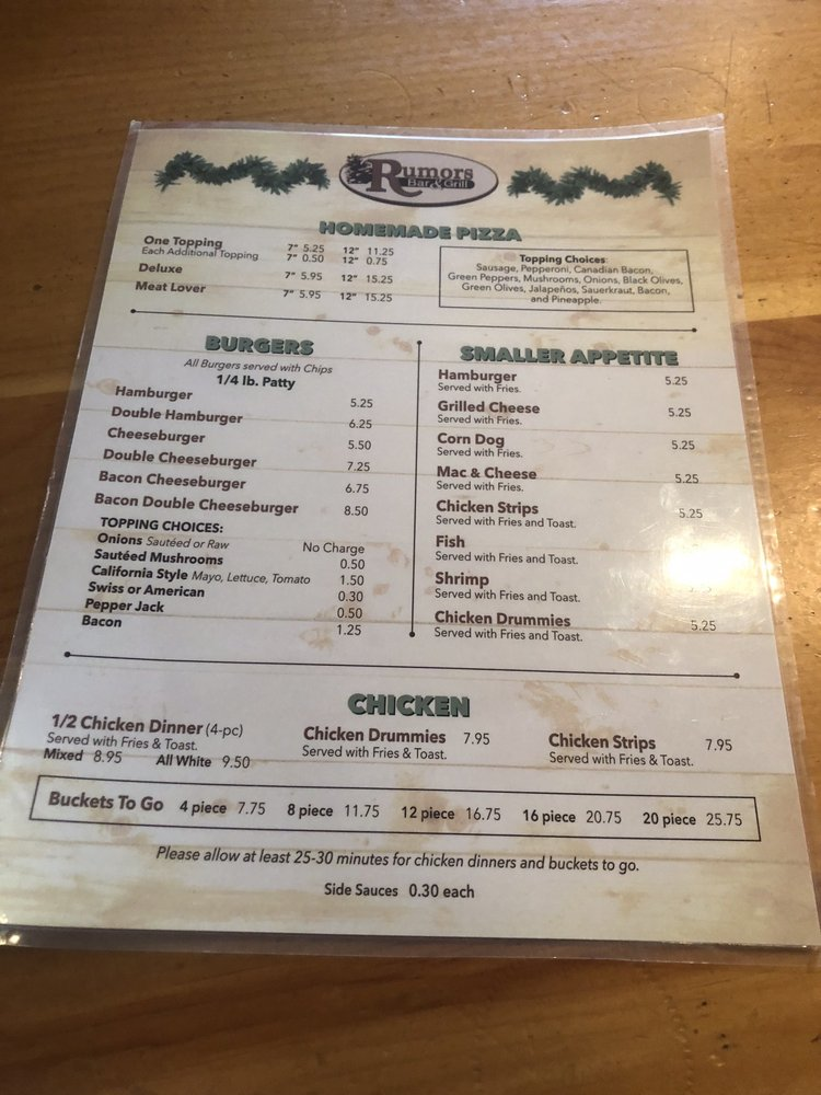 Rumors Bar & Grill: 9530 Hemlock Rd NW, Rice, MN