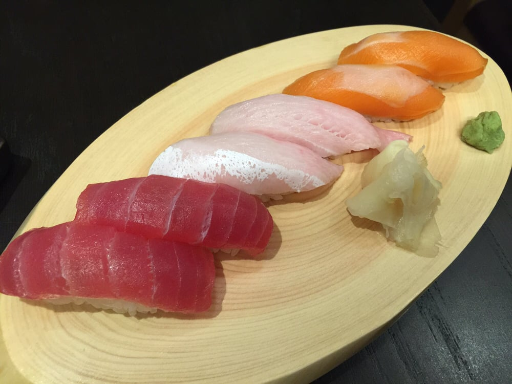 Sushi tuna yellowtail belly and salmon yelp for Yellowtail fish sushi