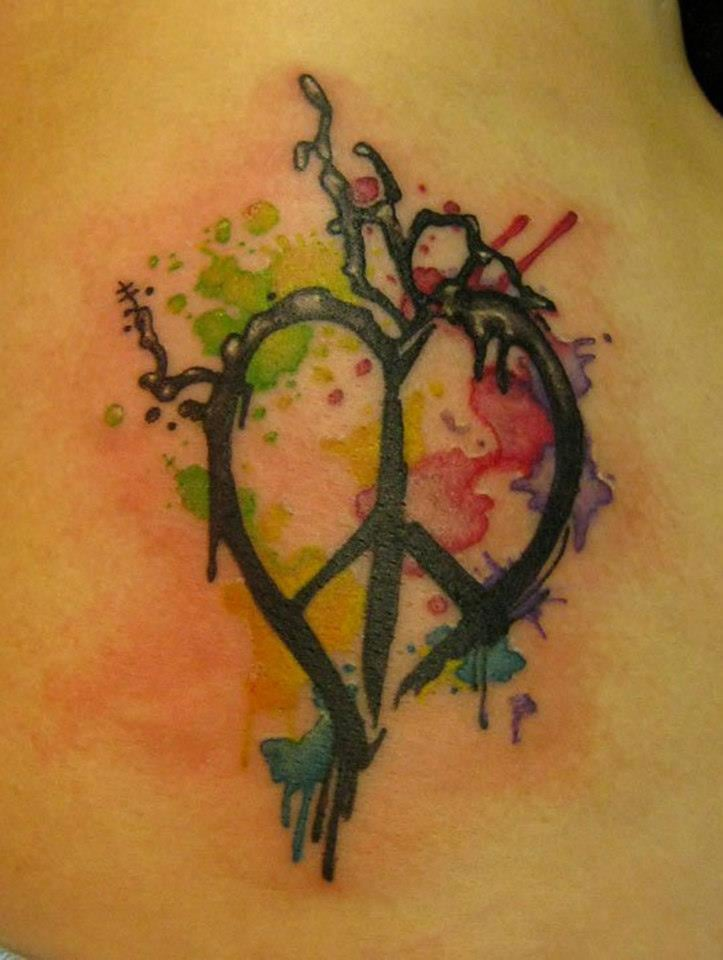 Peace heart paint splatter by amber opal yelp for Looking glass tattoos