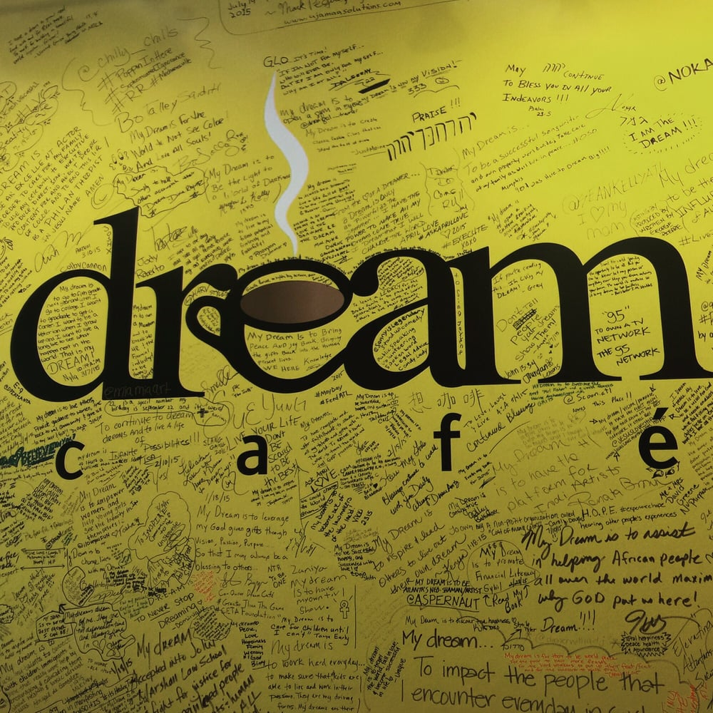 Inside where there\'s a wall for people to write their dreams. - Yelp