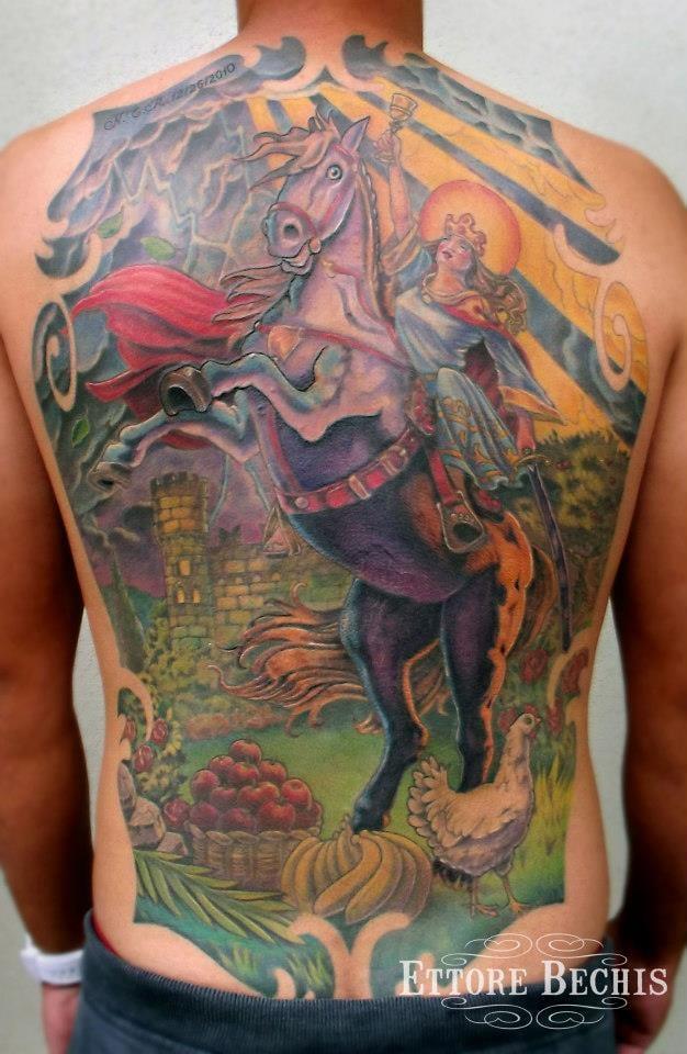 Santa Barbara Cuba Backpiece Tattoo Tattoos Realistic Miami Beach Salvation Tattoo Lounge