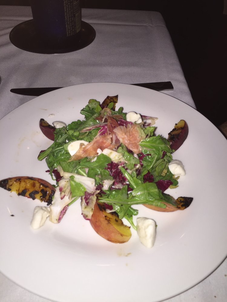 Grilled Peach Salad With Shaved Country Ham And Buffalo