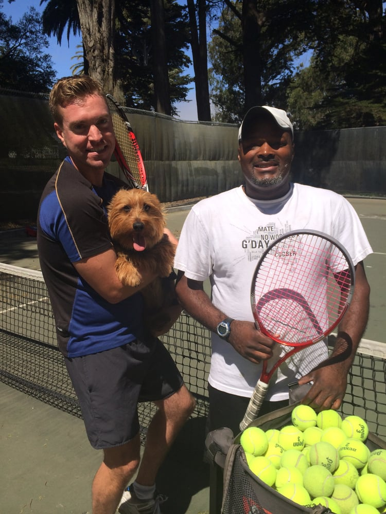 Photo of Tennis Lessons By Mcclain - San Francisco, CA, United States. Coach Mcclain and his client Trevin and the worlds most adorable dog Oliver